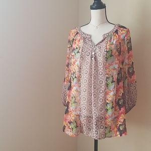 Anthro Fig & Flower tunic top shirt blouse  XXL 1X